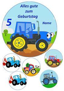 Fototorte--- Tortenaufleger---zum Geburtstag-- Traktor blau---Party---Tortenbild