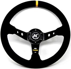 KODE-350mm Deep Dish Suede Steering Wheel Black Stitch Fit 6x70mm PCD Boss Kit