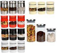 Set Of 3 Tea Coffee Sugar Jar Set Kitchen Canister Window Glass Storage Jar Tin