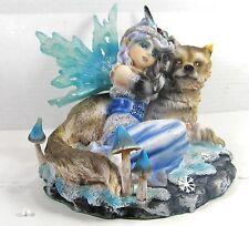 Snow Fairy With Wolf Gaurdian,Mythical Fantasy home decor figurine