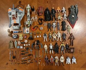 HUGE Star Wars Figure Vehicle Weapon Accessory Game Lot Kenner Hasbro Lucas