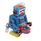 Classic Wind Up Walking Drummer Robot Clockwork Mechanical Tin Toy Xmas Gift