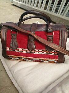 Authentic Moroccan bag kilim Leather Duffle Holdall Morocco killim ethnic