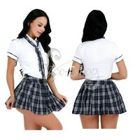 Women Girls School Uniform Top Outfit Plaid Sexy Skirt Cosplay Role Play Tie Set