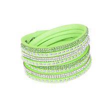 Punk Leather Wrap Wristband Cuff Crystal Rhinestone Multilayer Bracelet Bangle