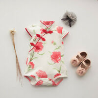 Infant Baby Girls Floral Dress Sleeveless Cheongsam Chinese Style Romper Clothes