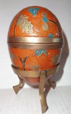 "4"" Cloisonne BRASS EGG Box With Stand Enamel Abstract Floral Design"