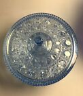 Vintage Depression Glass Light Blue Candy Dish Serving Bowl With Lid ~ Excellent