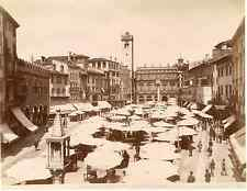 Alinari, Italia, Verona, Piazza Delle Erbe  Vintage albumen print,  Tirage