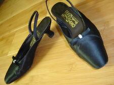 7.5 B Salvatore Ferragamo Italy black satin evening sling heel shoe