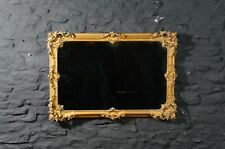 Large 19thC Antique Gilt Framed Rectangular Wall Mirror ~ Ornate Rococo Style
