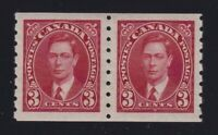 Canada Sc #240 (1937) 3c carmine King George VI Mufti Coil Pair Mint VF NH