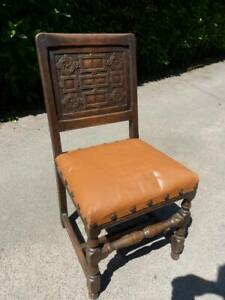 Leather and Carved Oak Side Chair Bedroom Chair