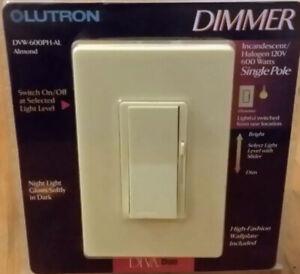 Lot Of 3 LUTRON Dimmer DVW-600PH-AL Single Pole Incandescent 120v 600 Watts