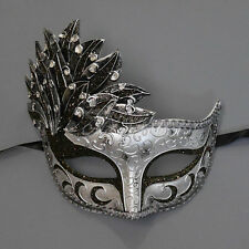 Silver & Black Venetian Leaf Engraving Masquerade Mask for Women M7255