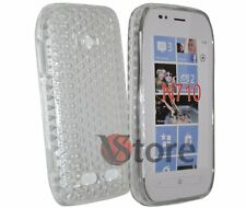 Cover Custodia Per Nokia Lumia 710 Trasparente Diamond Silicone Gel + Pellicola