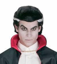 Halloween: Black Vampire Wig Black Hair White Streaks Gothic Reg $18. New