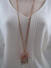 Betsey Johnson rose gold tone padlock paris long necklace, NWT
