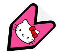 ## JDM WAKABA BADGE HELLO KITTY HEAD HOT PINK Car Decal not vinyl sticker ##