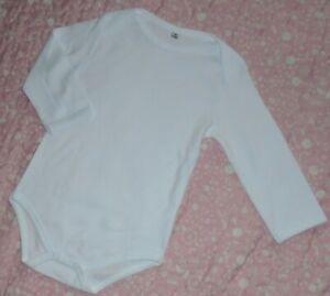Unisex White 100% Pure Cotton Baby Bodysuit / Vest Long Sleeve