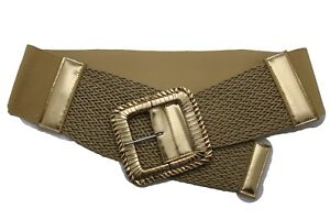 Women Wide Elastic Gold Braided Fashion Belt HBig Square Buckle Plus Size M L XL