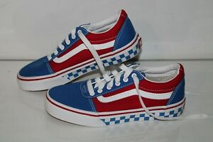 VANS Casual Sneakers, #500714, Red/White/Blue, Canvas, Youth US Size 2 Y