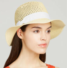 New AUGUST Crushable Toyo Straw Floppy Fedora Sun Hat With White Flat Bow  Band c1709360821b