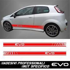 Paire Adhésifs Bandes Parties Latérales Racing pour Fiat Grande Punto Evo Rouge