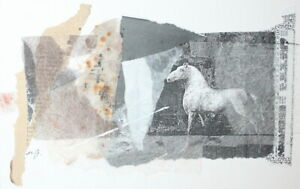 Abstract Modernist collage print horse signed