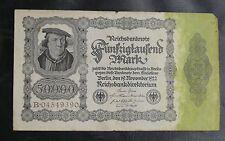 BILLET D'ALLEMAGNE : 1922 REICHSBANKNOTE FÜNFZIG TAUSEND MARK - EN BON ETAT