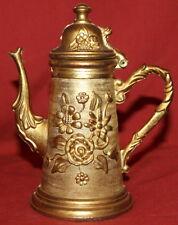 Vintage Ornate Brass Floral Lidded Mug Tankard