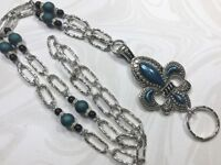 Blue Fleur de Lis  Lanyard Beaded Silver Chain Badge ID Holder- Breakaway Option