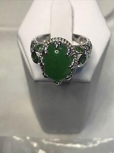 Burmese Green Jade , Russian Chrome Diopside Sterling Ring Sz9 8.00ctw