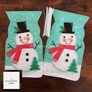 10 x CHRISTMAS SNOWMAN CELLO Treat Sweet LOOT Gift Bags  FROSTY FESTIVE XMAS