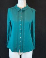 WHITE STUFF Women's Green, Long Sleeve, 100% Cotton Blouse Shirt. Size UK 10