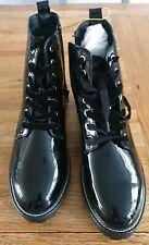 Next Women's Black Pattern Lace Up Side Zip Ancle Boots Size uk 6