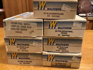 Lot of 7 Walthers HO Train Cars with Boxes