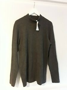 * BERSKSHA* GREY RIB HIGH NECK TOP SIZE S NEW WITH TAGS