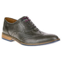 NEW Mens Hush Puppies Style Brogue Dress Shoes Grey Smooth Leather - Choose Size
