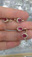 RUBY STERLING SILVER 925K AND BRONZE EARRING PENDANT SET