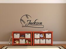 BASEBALL BAT & NAME Personalized Wall Decal Sticker Bedroom Sports Decor