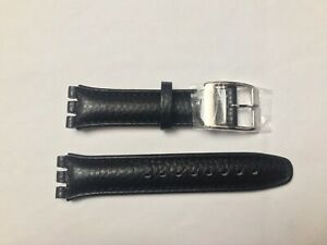 Replacement 19mm Leather Watch Strap in Black for Swatch Metal Buckle