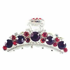 USA Hair Claw Clip Rhinestone Crystal Hairpin Elegant Jeweled Silver Red New