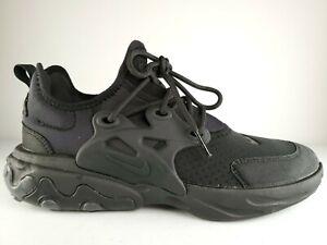 Nike React Presto GS Womens Size 5.5 / 4Y Running Shoes Triple Black BQ4002-005
