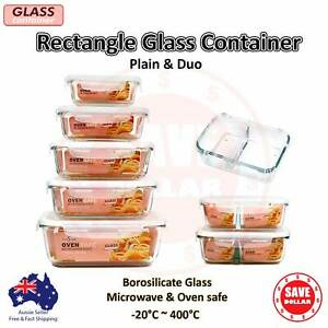Glass Container Rectangle Food Storage Set Oven Microwave Safe Divided Lock Clip