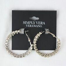 "Hoop Silver-tone 1 1/2"" Earrings Simply Vera by Vera Wang Rhinestone"