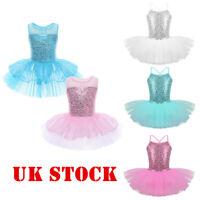 UK_Girls Ballet Ballerina Dance Dress Child Sequin Gymnastics Leotard Tutu Skirt