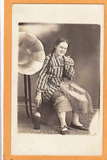 Studio Real Photo Postcard RPPC Young Woman & Phonograph St Pie de Bagot Quebec
