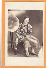 Studio Real Photo Postcard RPPC Young Woman & Phonograph St Pie de Bagot Quebec