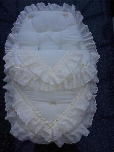 Baby's Cosy Toes / Footmuff 3-in-1 in  cream  double lace design design